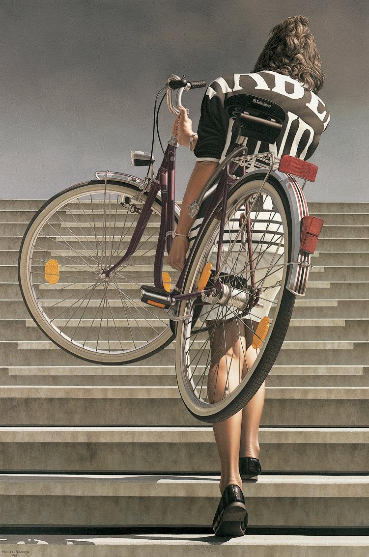 Frau mit Fahrrad II. Acryl/Öl auf Leinwand